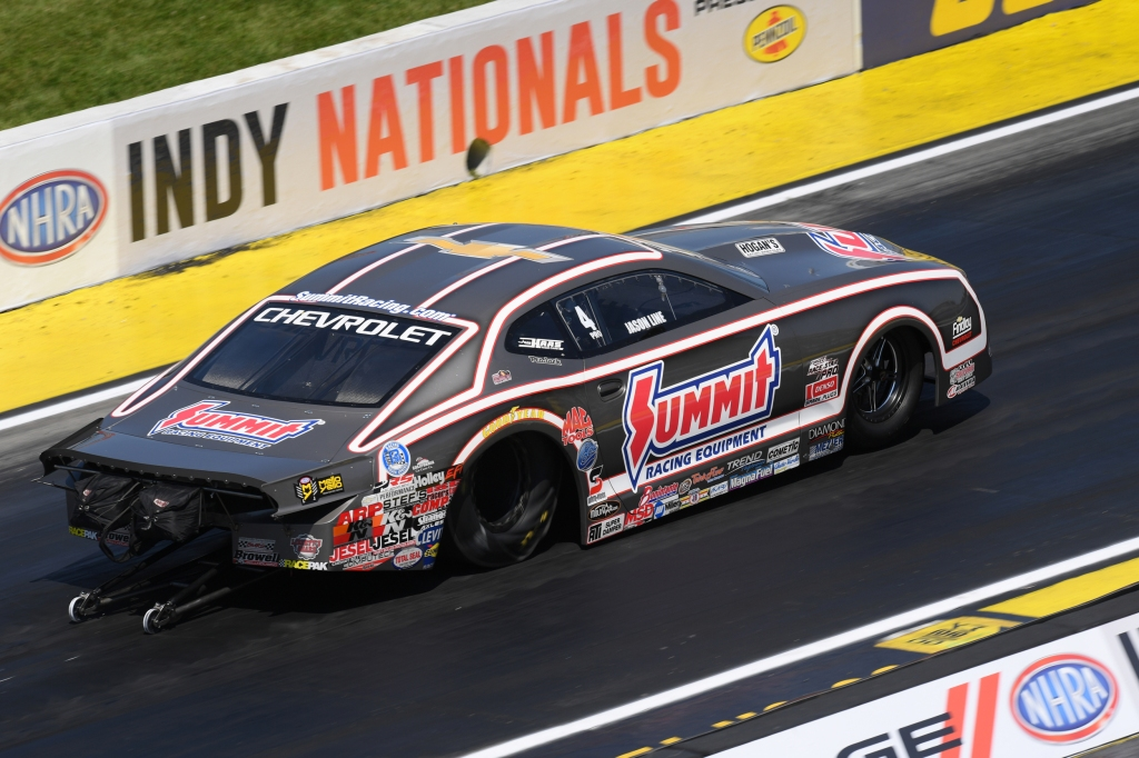 Summit Racing Equipment Pro Stock driver Jason Line racing on Saturday at the Dodge NHRA Indy Nationals presented by Pennzoil