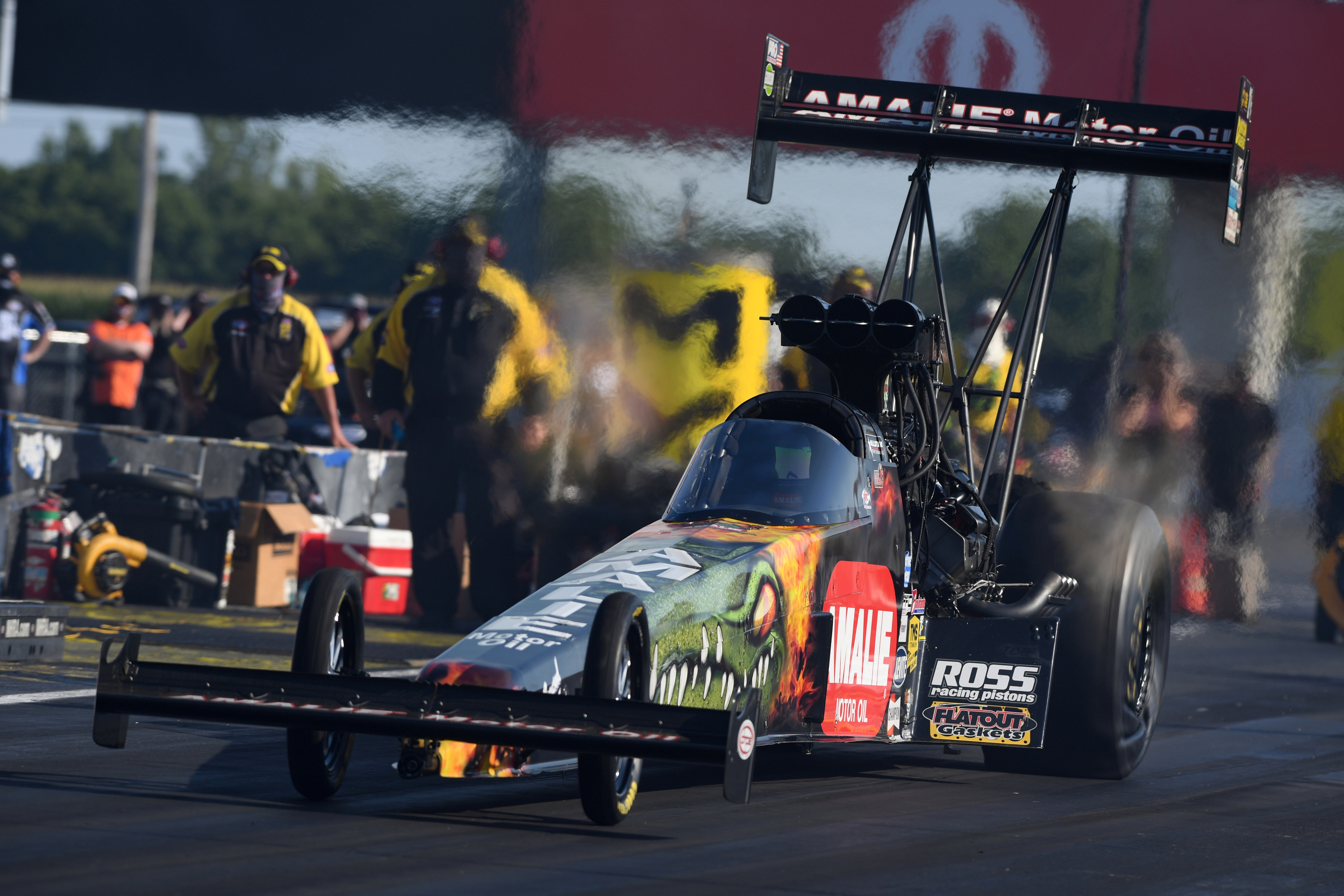 Amalie Motor Oil sponsored Top Fuel Dragster pilot Terry McMillen racing on Saturday at the Dodge NHRA Indy Nationals presented by Pennzoil