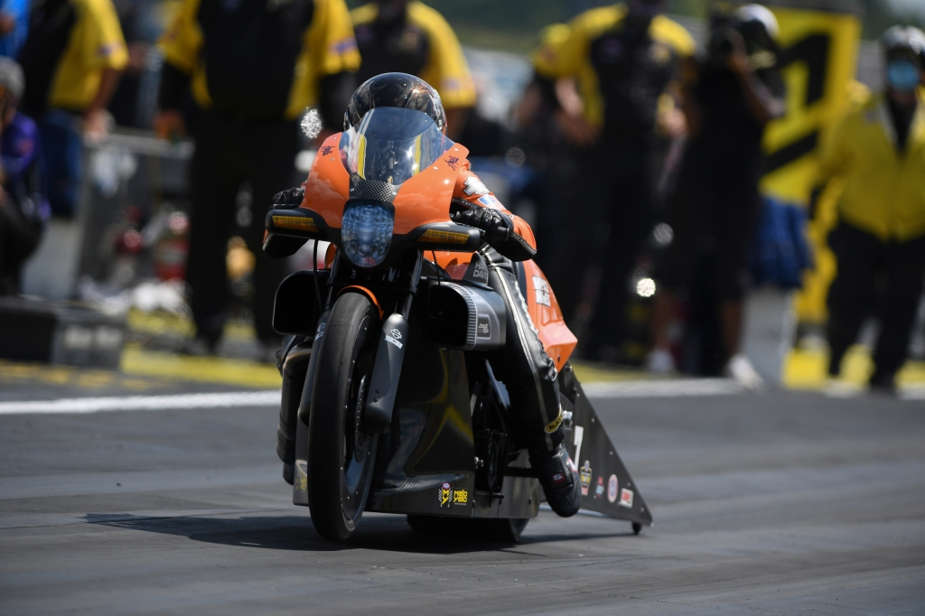 Vance & Hines Harley-Davidson Pro Stock Motorcycle rider Angelle Sampey racing on Sunday at the Dodge NHRA Indy Nationals presented by Pennzoil