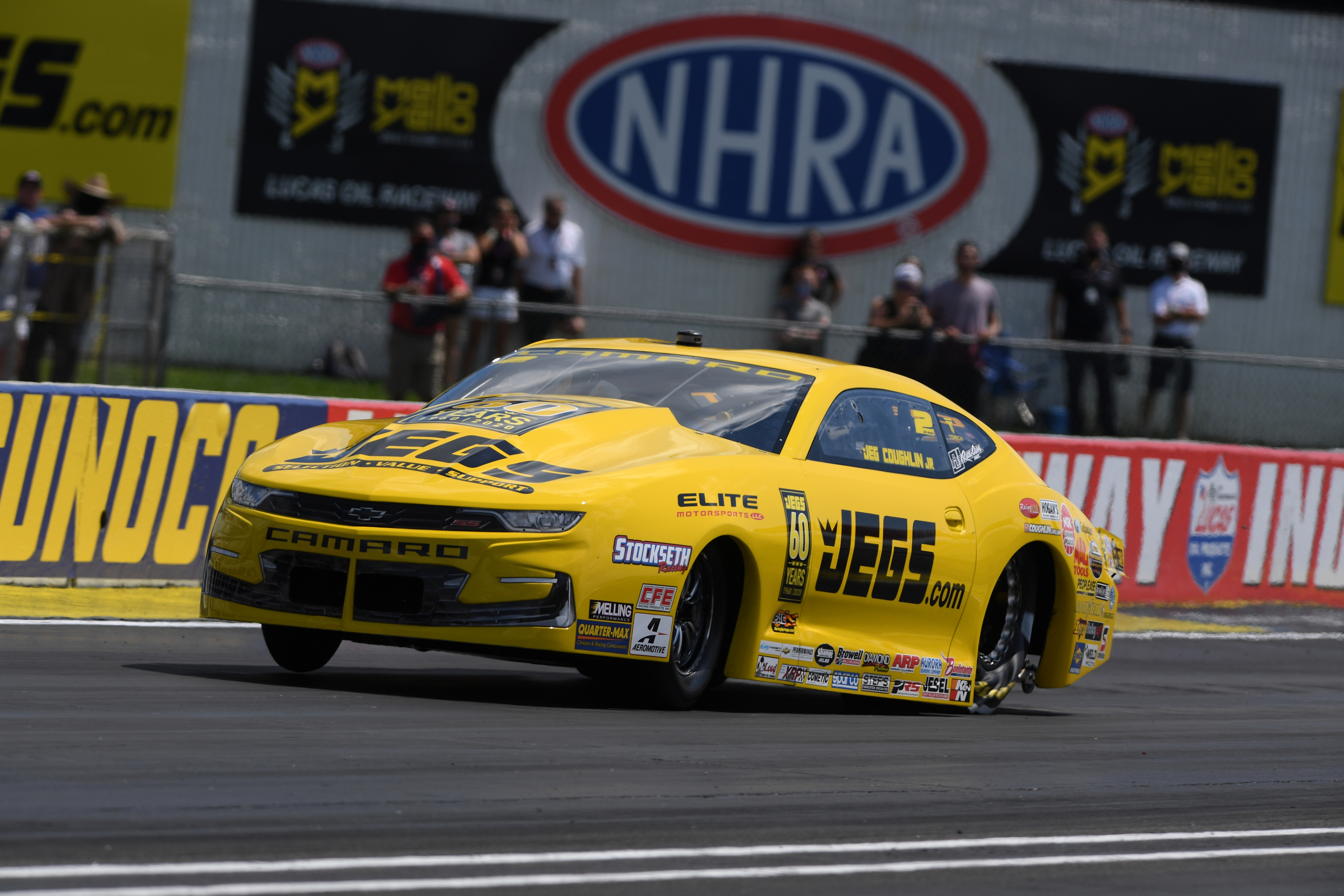Elite Performance/JEGS Pro Stock driver Jeg Coughlin Jr. racing on Sunday at the Dodge NHRA Indy Nationals presented by Pennzoil