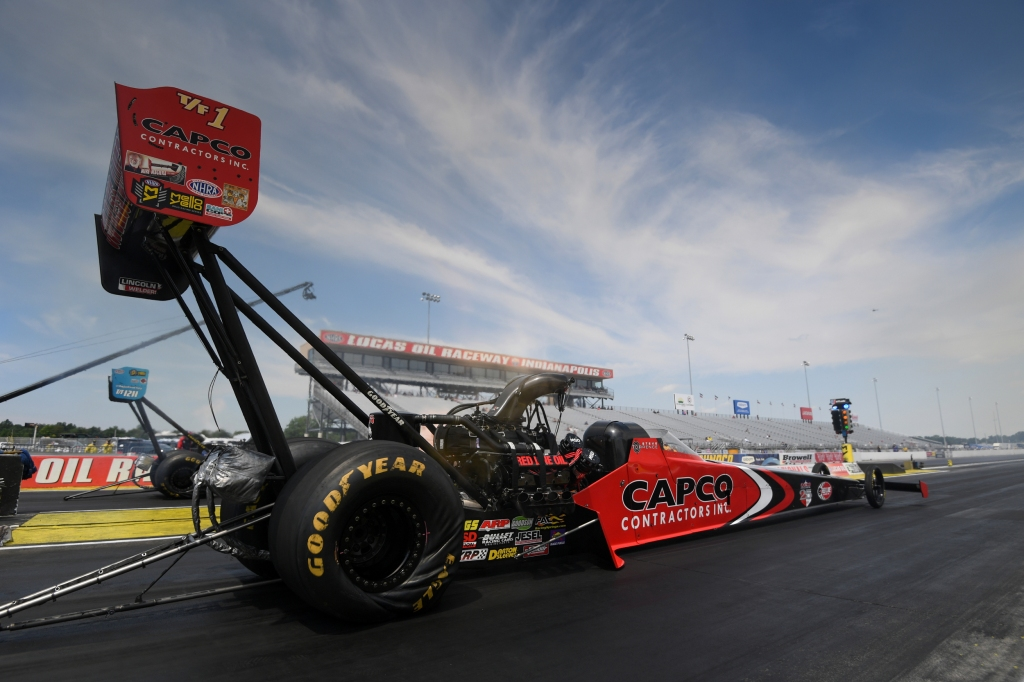 Capco Contractors Top Fuel Dragster pilot Steve Torrence racing on Sunday at the Dodge NHRA Indy Nationals presented by Pennzoil