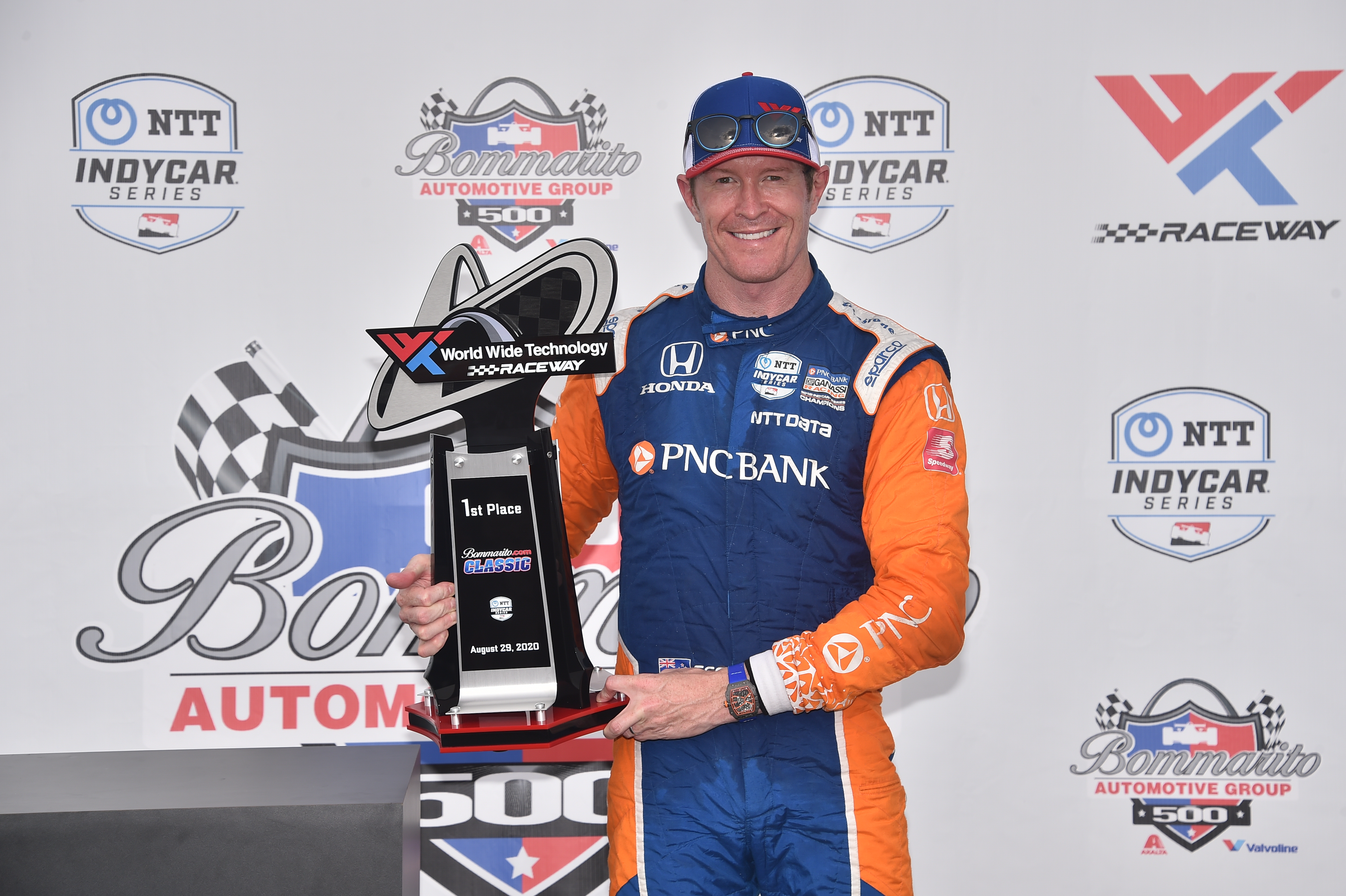 PNC Bank IndyCar driver Scott Dixon wins the Bommarito Automotive Group 500 Race 1 at World Wide Technology Raceway
