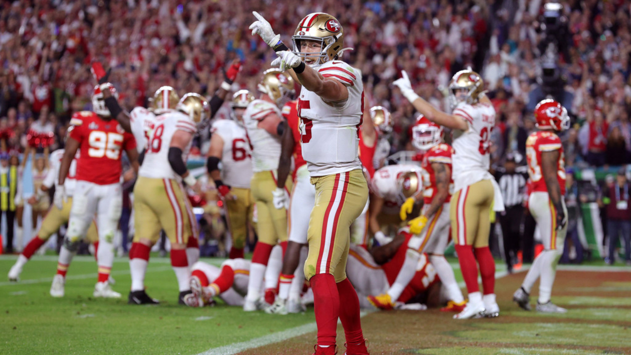 San Francisco 49ers tight end George Kittle reacts to a play against the Kansas City Chiefs in Super Bowl LIV