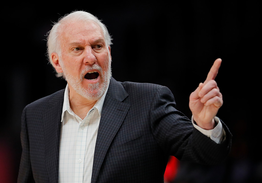 San Antonio Spurs head coach Gregg Popovich reacts to a play against the Atlanta Hawks