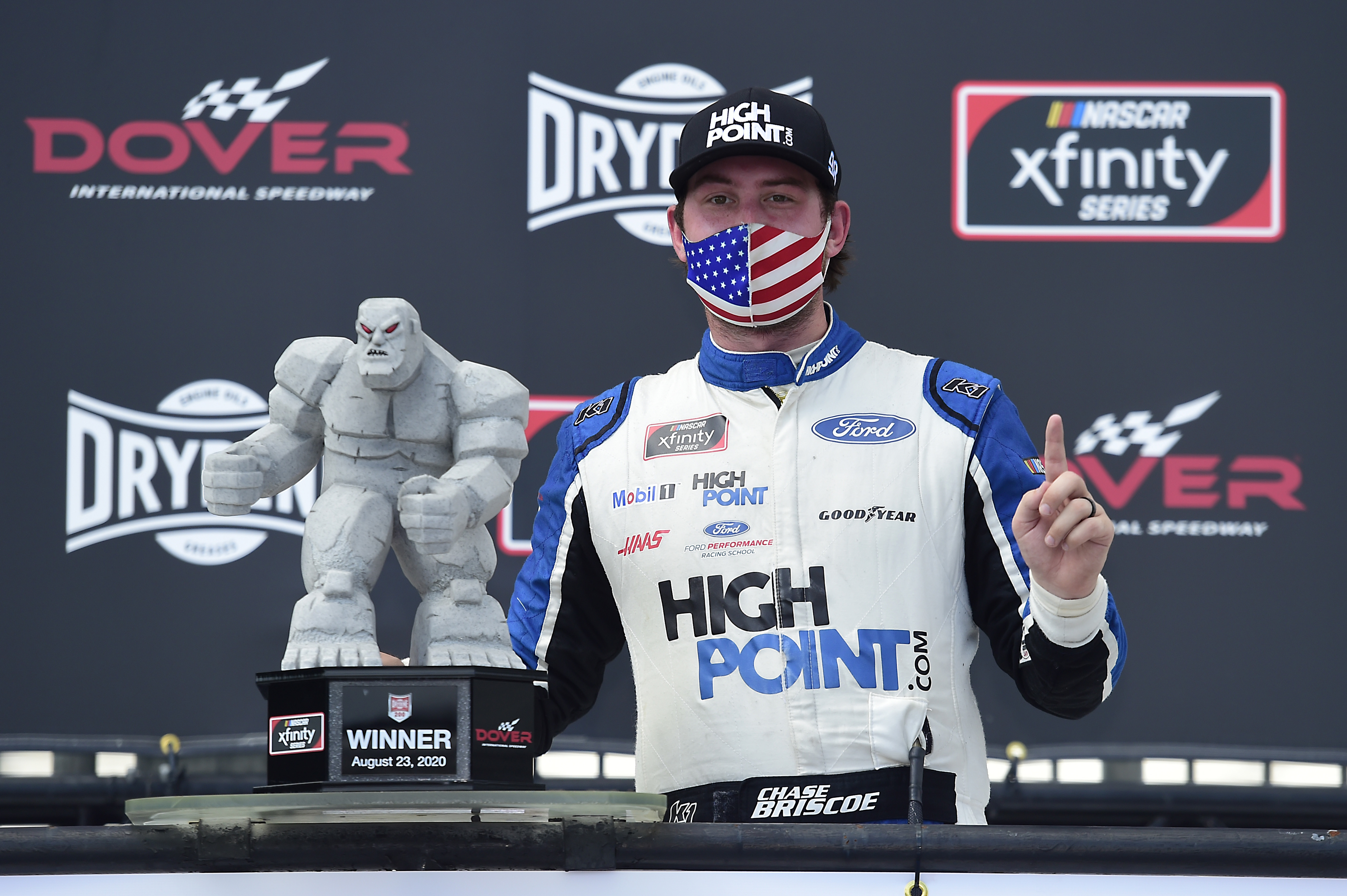 Highpoint.com Ford driver Chase Briscoe celebrates in Victory Lane after winning the NASCAR Xfinity Series Drydene 200