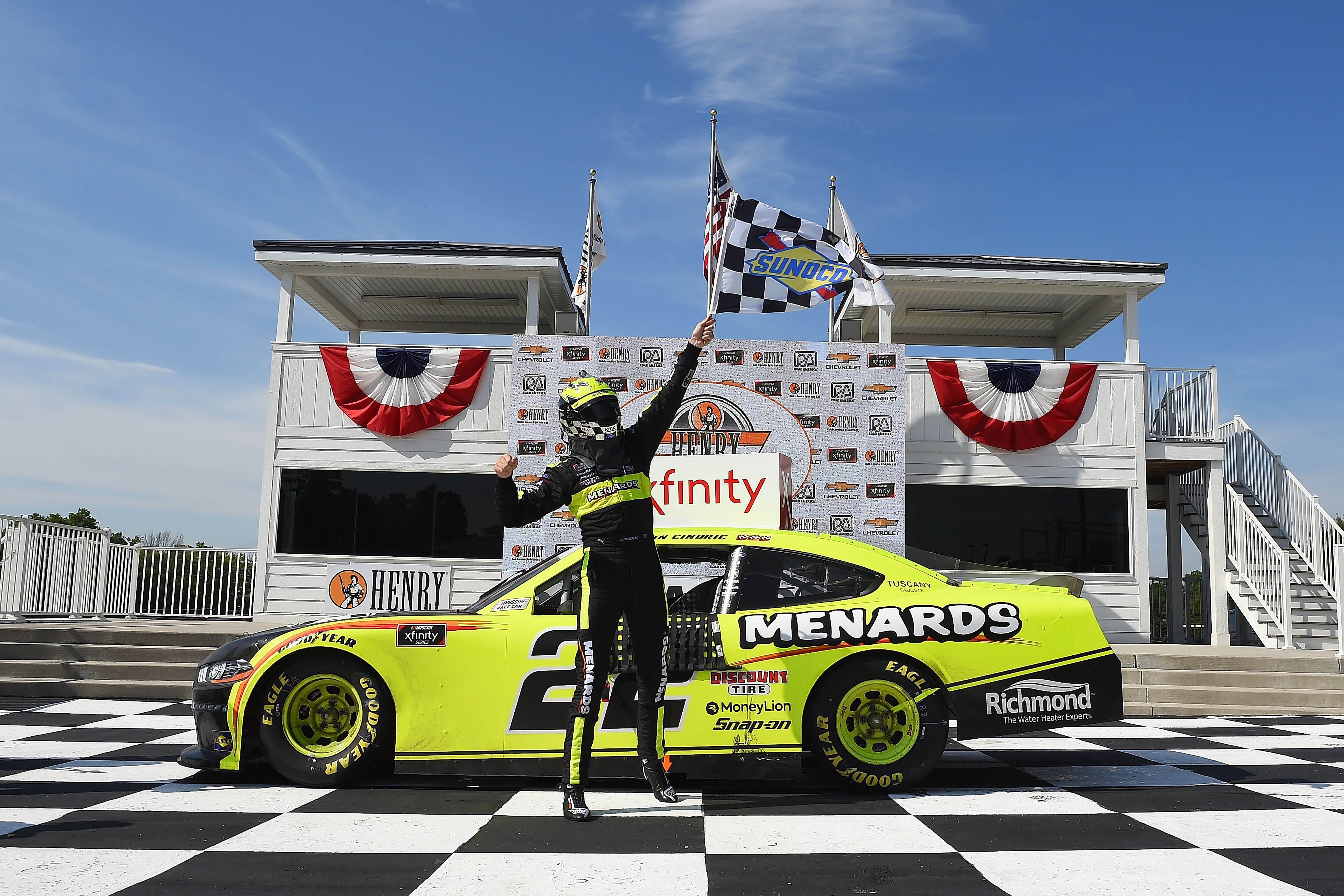 Menards/Richmond Ford driver Austin Cindric celebrates in Victory Lane after winning the NASCAR Xfinity Series Henry 180