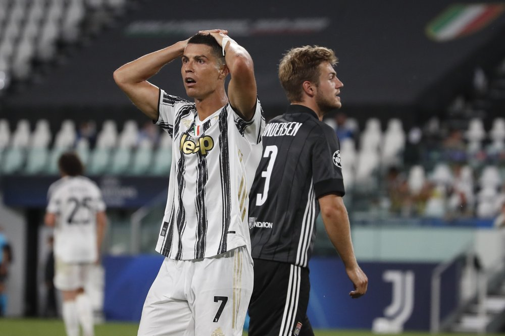 Juventus superstar Cristiano Ronaldo reacts during the Champions League Round of 16 second leg against Lyon
