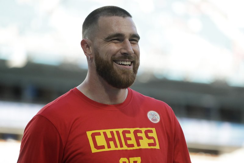 Kansas City Chiefs tight end Travis Kelce is all smiles before Super Bowl 54 against the San Francisco 49ers