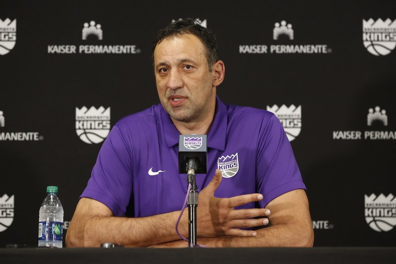 Former Sacramento Kings President of Basketball Operations and General Manager Vlade Divac answers questions from the media after announcing the firing of head coach Dave Joerger