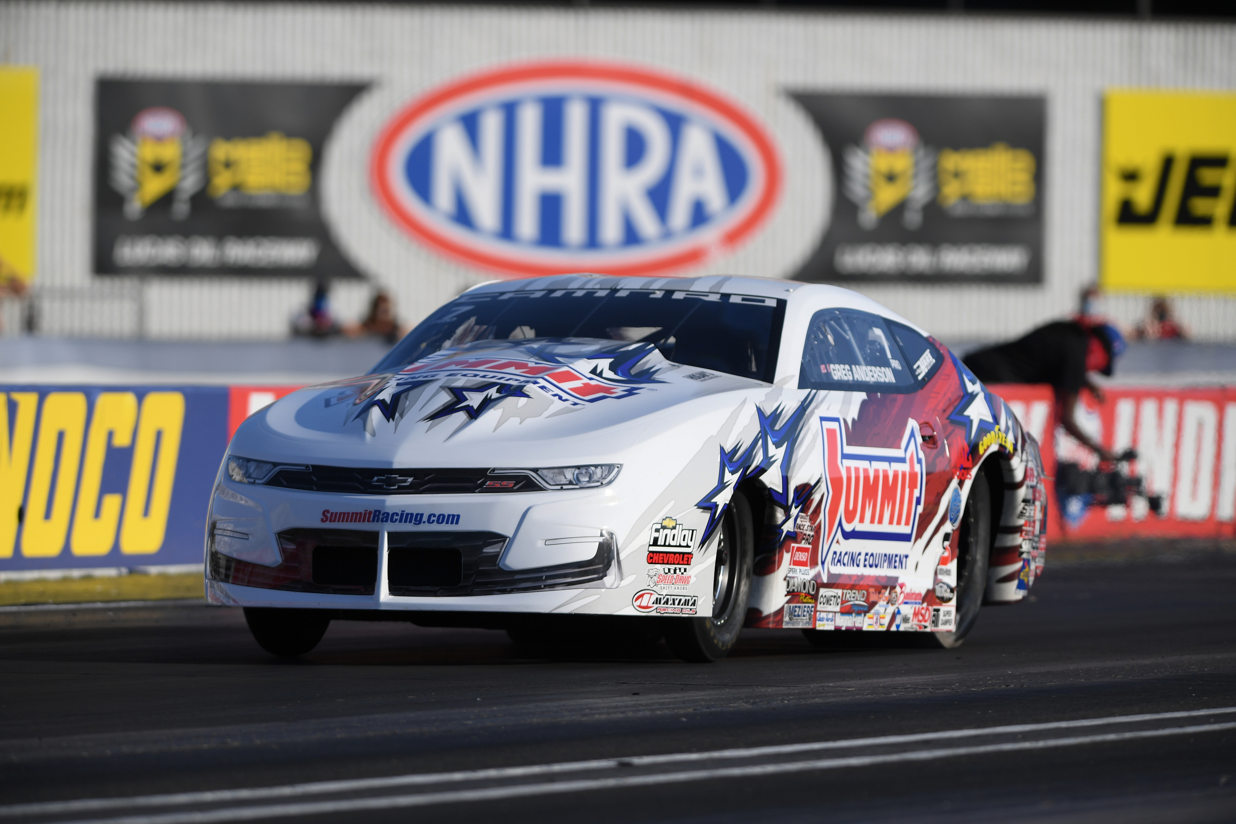 Summit Racing Equipment Pro Stock driver Greg Anderson racing on Saturday at the Denso Spark Plugs U.S. Nationals