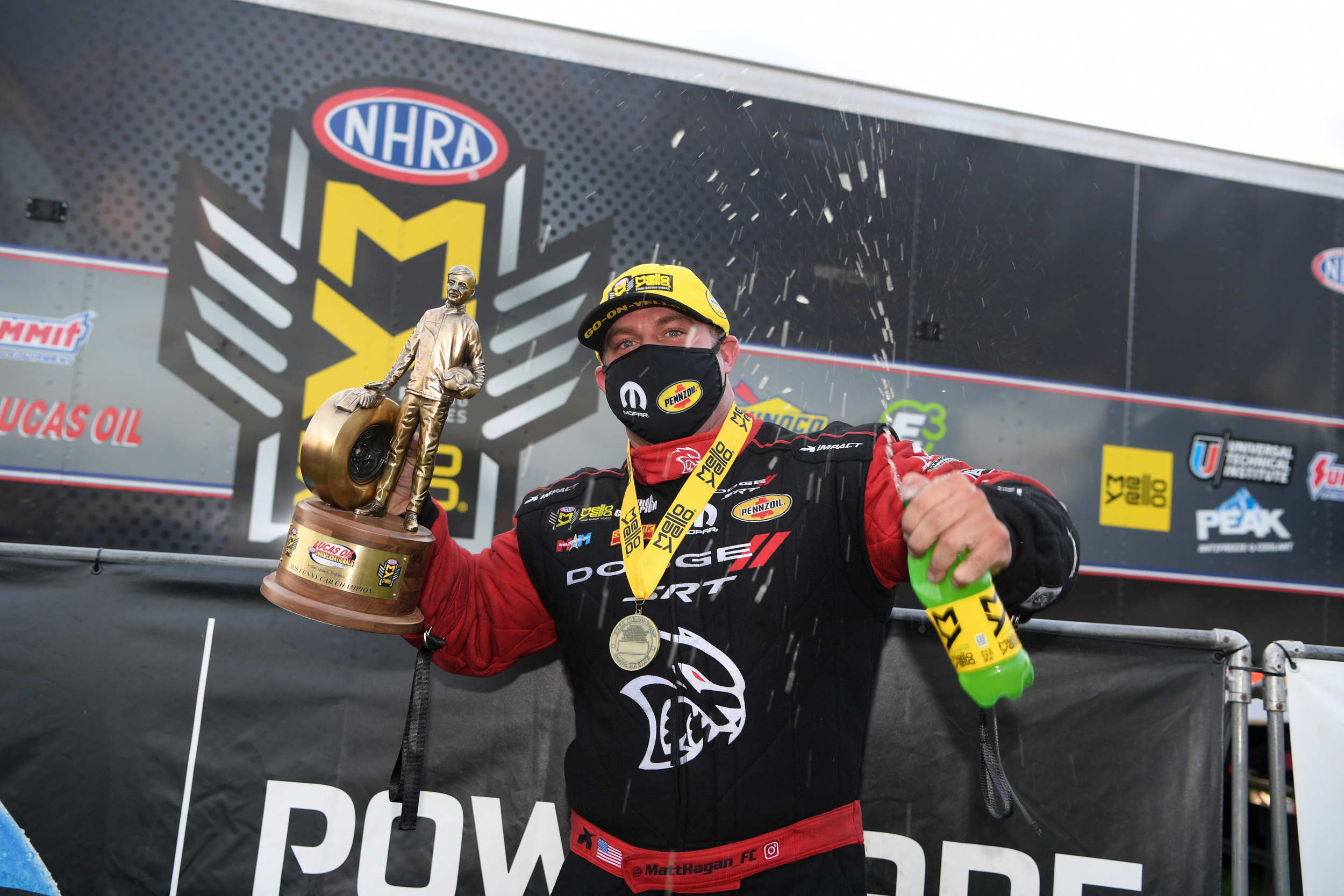 Don Schumacher Racing Funny Car pilot Matt Hagan celebrates his win in the delayed Lucas Oil NHRA Summernationals at Indianapolis