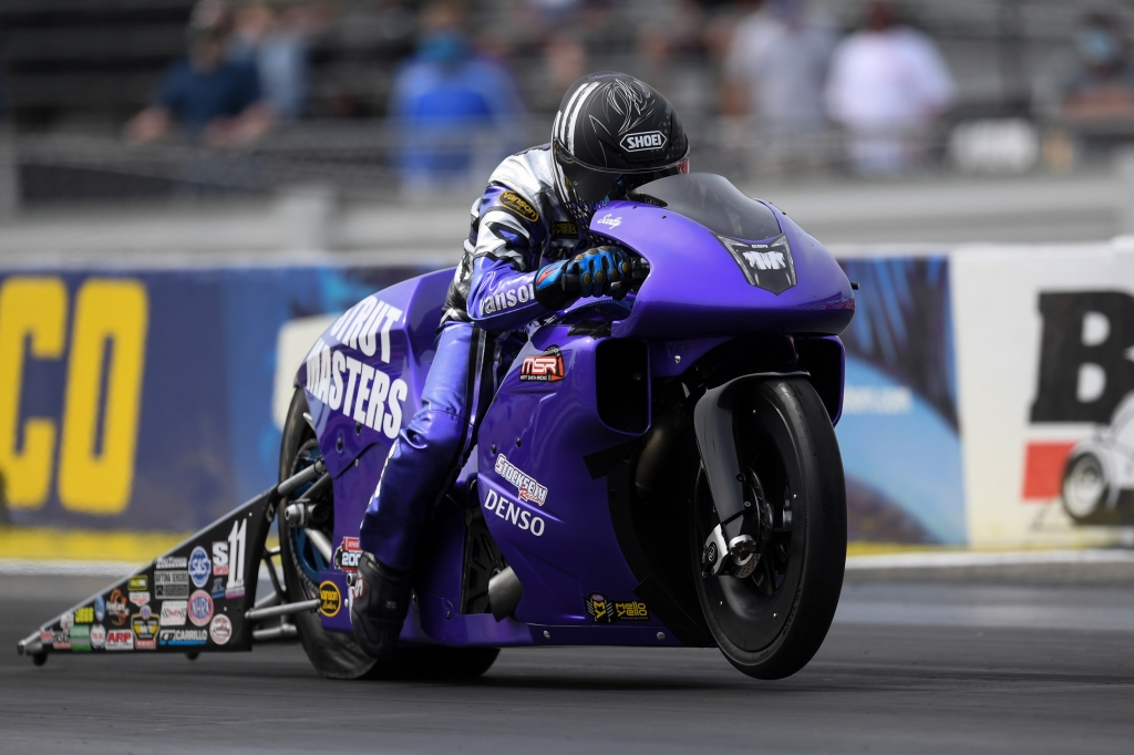 Strutmasters Pro Stock Motorcycle rider Scotty Pollacheck racing on Sunday at the prestigious Denso Spark Plugs U.S. Nationals
