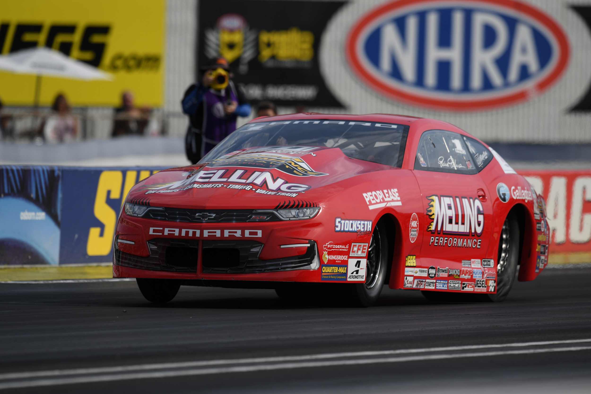 Melling Performance/Elite Performance Pro Stock driver Erica Enders racing on Sunday at the prestigious Denso Spark Plugs U.S. Nationals
