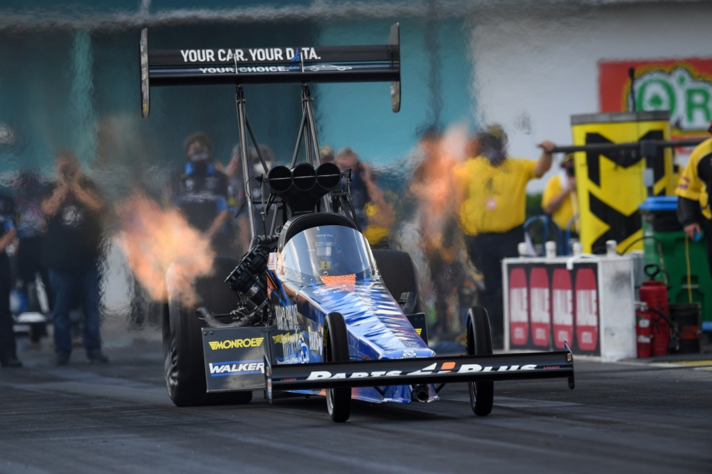 Parts Plus Top Fuel Dragster pilot Clay Millican racing on Saturday at the Amalie Motor Oil NHRA Gatornationals