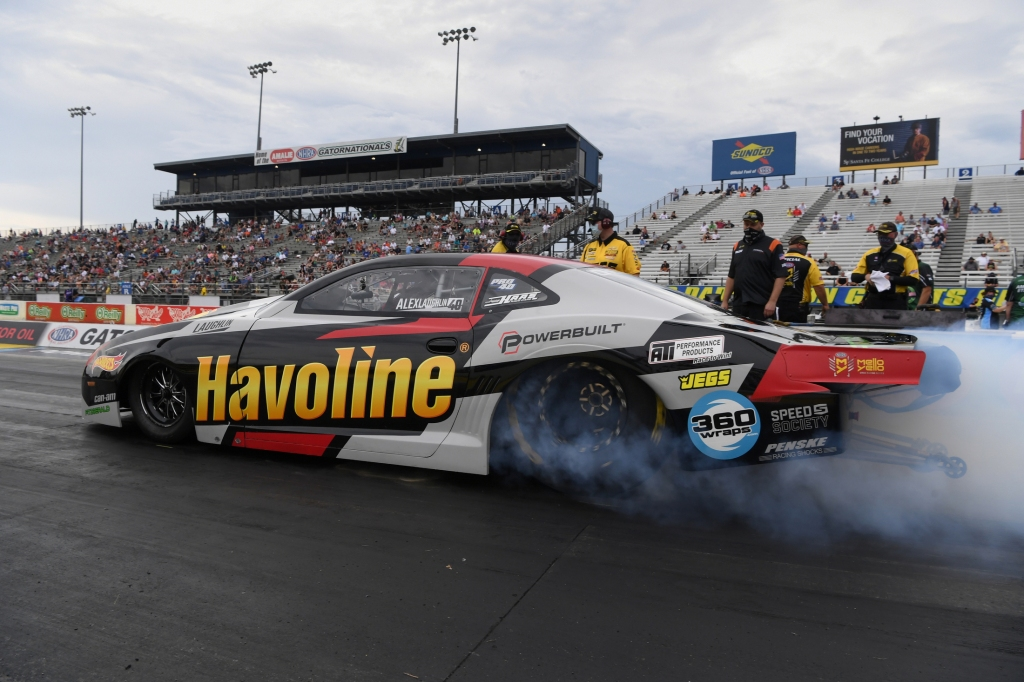 Havoline-sponsored Pro Stock driver Alex Laughlin racing on Sunday at the Amalie Motor Oil NHRA Gatornationals