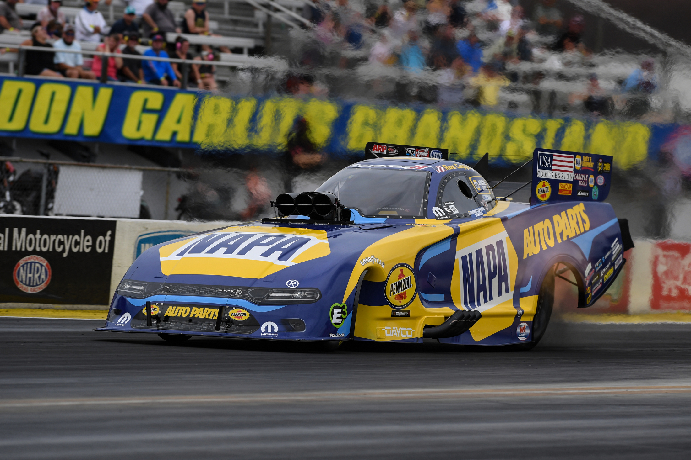 NAPA Auto Parts Funny Car pilot Ron Capps racing on Sunday at the Amalie Motor Oil NHRA Gatornationals