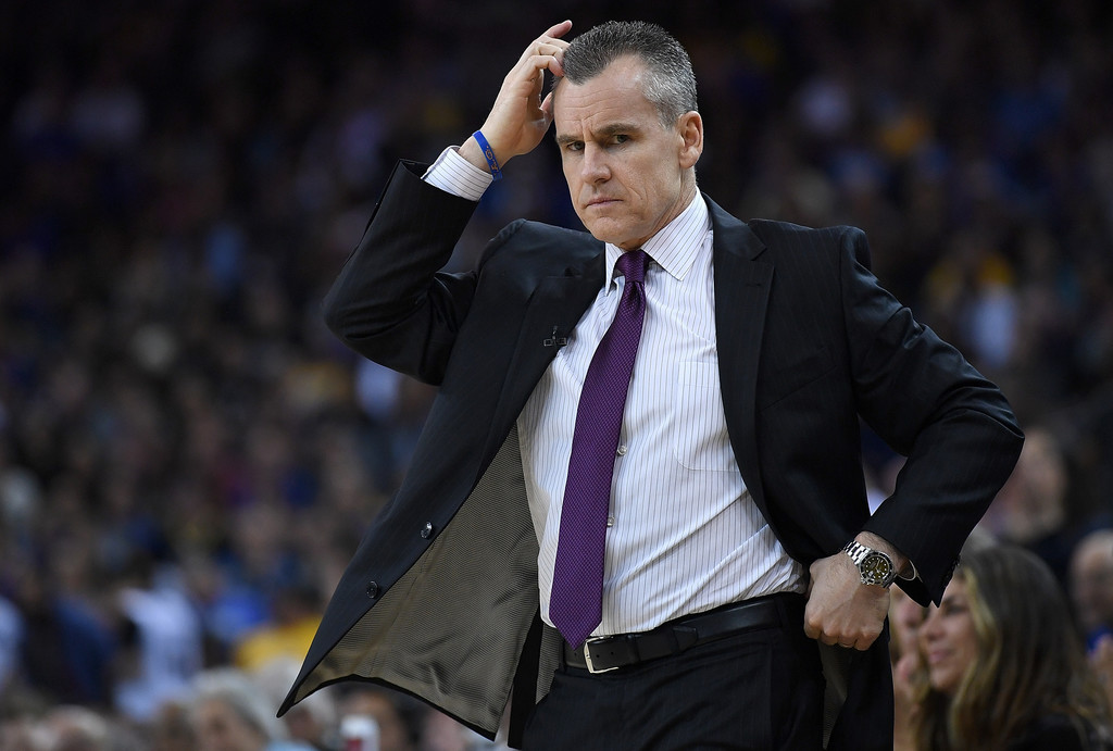 Former Oklahoma City Thunder head coach Billy Donovan reacts to a call against the Golden State Warriors