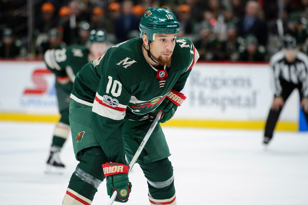 Former Minnesota Wild player Chris Stewart waits for a face-off against the Winnipeg Jets