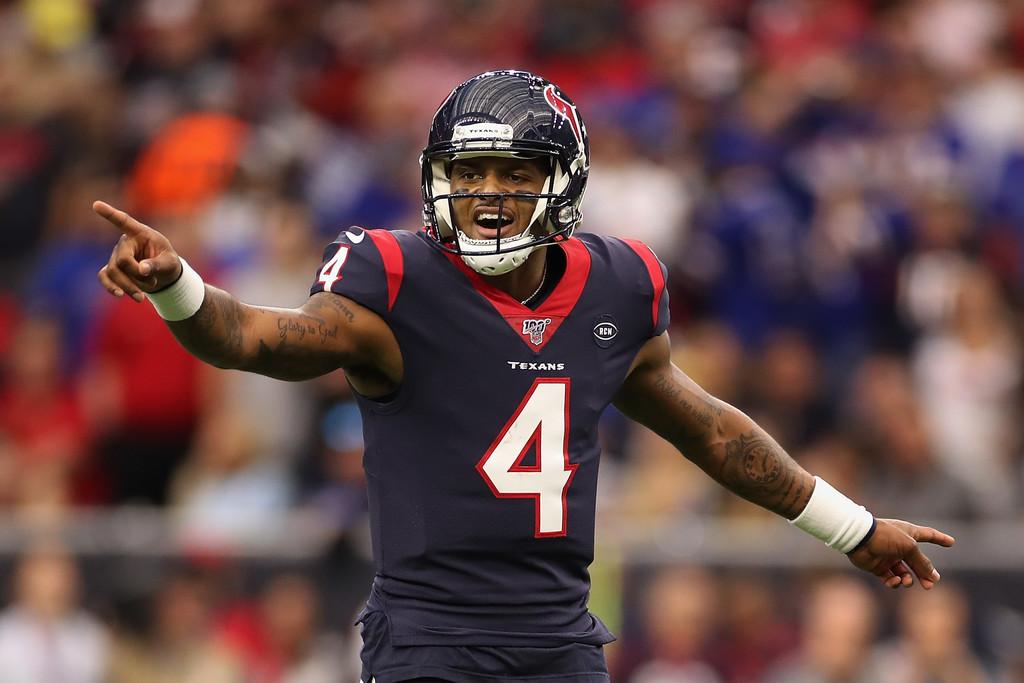 Houston Texans quarterback DeShaun Watson points during the Wild Card Round against the Buffalo Bills