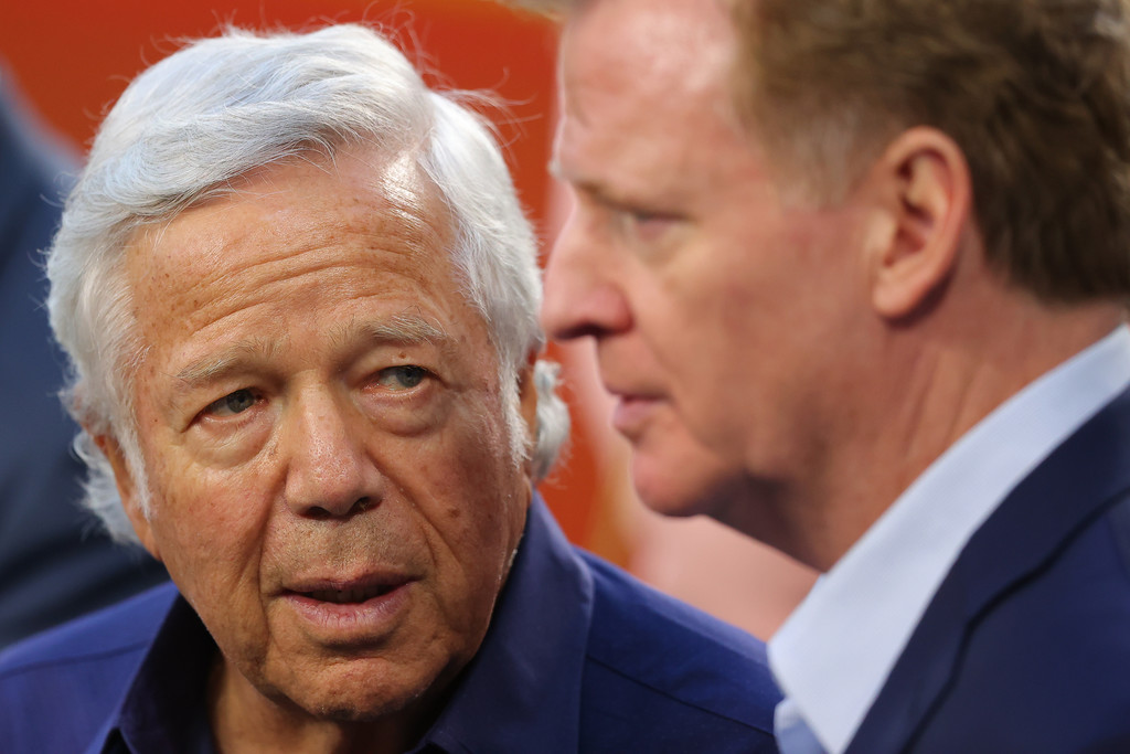 New England Patriots owner Robert Kraft talking with NFL Commissioner Roger Goodell prior to Super Bowl LIV between the San Francisco 49ers and the Kansas City Chief