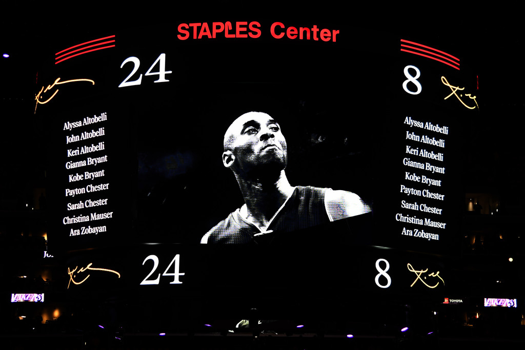 Los Angeles Lakers honor the nine victims from the January 26th helicopter crash during the pregame ceremony for Kobe Bryant before the game against the Portland Trail Blazers