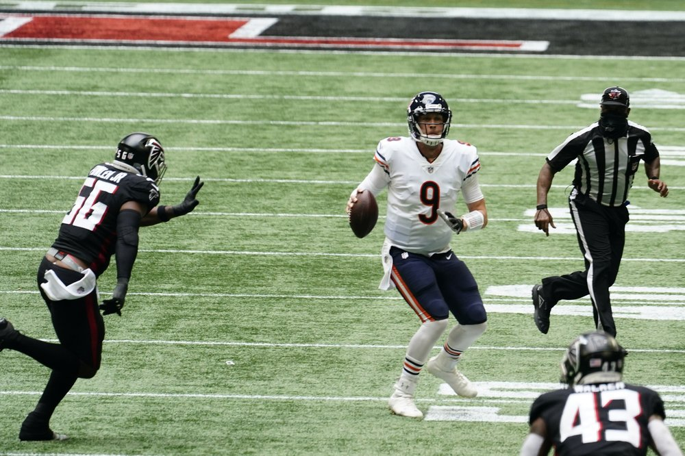 Chicago Bears quarterback Nick Foles attempts a pass against the Atlanta Falcons