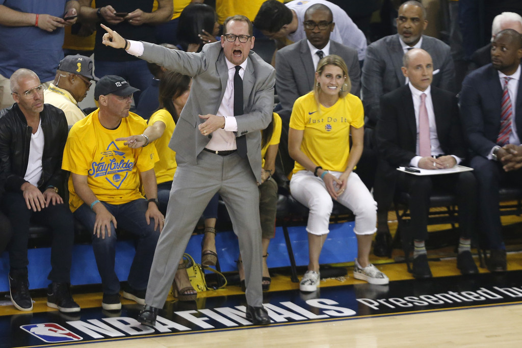 Toronto Raptors head coach Nick Nurse reacts to a call against the Golden State Warriors in Game Six of the 2019 NBA Finals