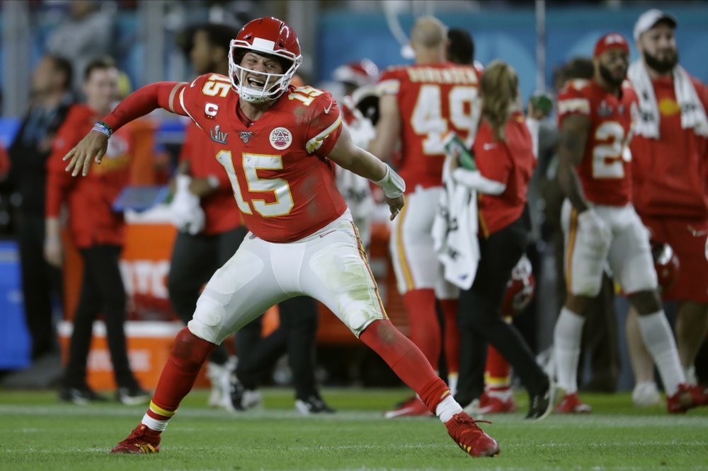 Kansas City Chiefs quarterback Patrick Mahomes celebrates his touchdown pass to Damien Williams in Super Bowl 54 against the San Francisco 49ers