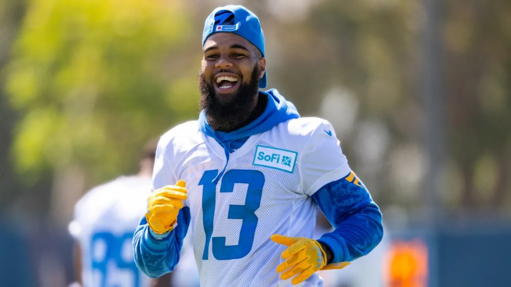 Los Angeles Chargers wide receiver Keenan Allen laughs during practice
