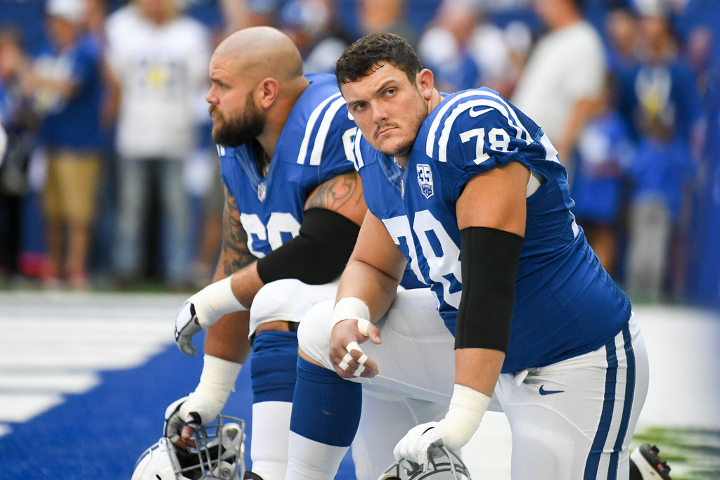 Indianapolis Colts center Ryan Kelly waits before a game against the Houston Texas