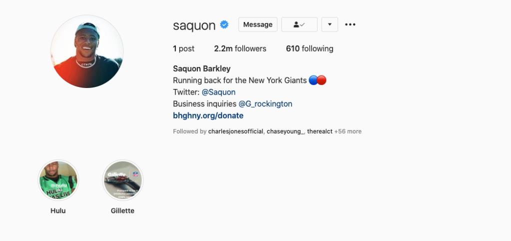 Saquon Barkley's Instagram account