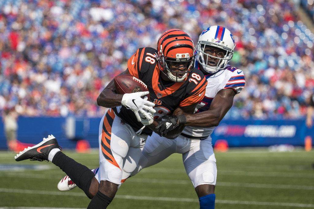 Buffalo Bills cornerback Tre'Davious White attempts to tackle A.J. Green against the Cincinnati Bengals