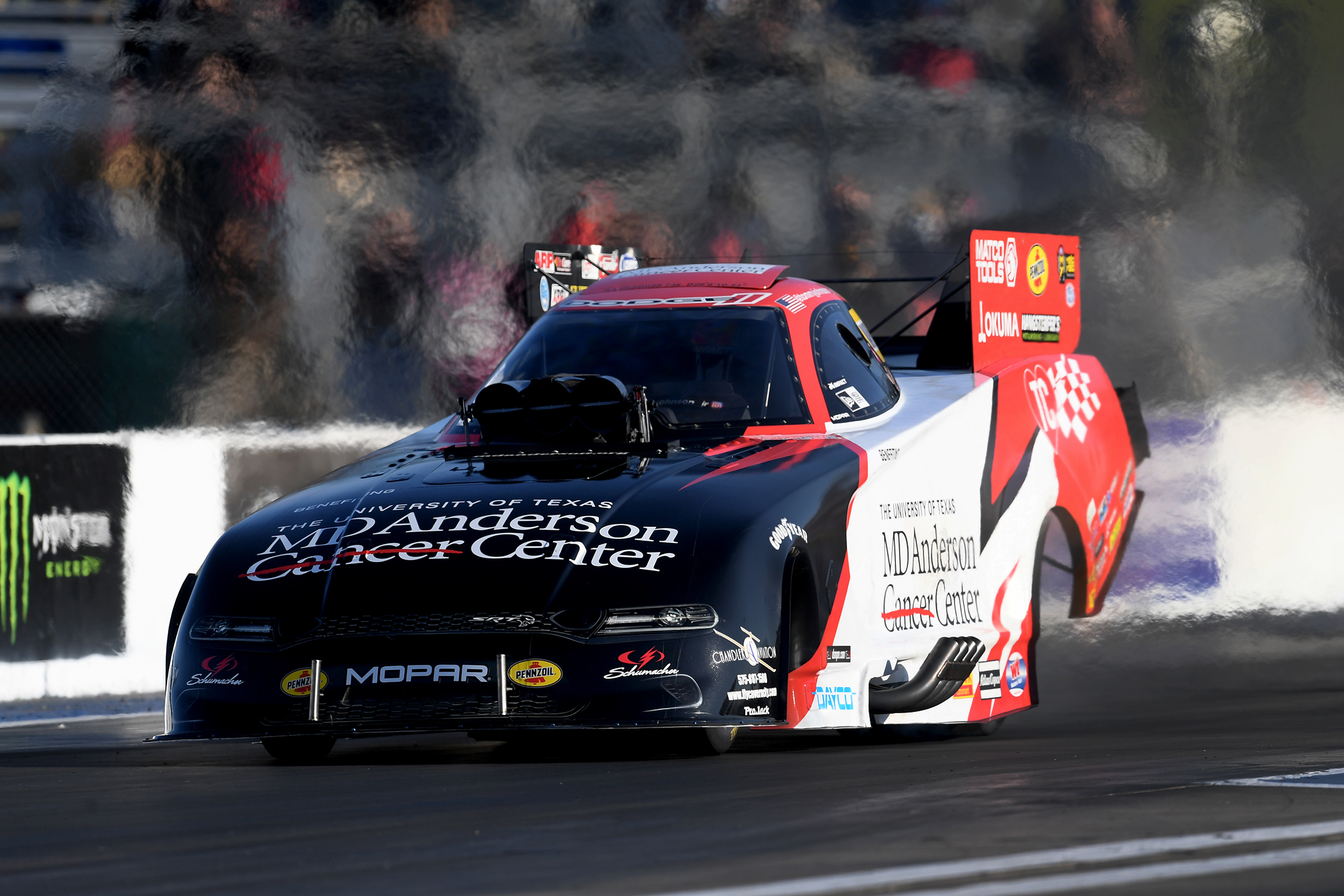 MD Anderson Cancer Center Funny Car pilot Tommy Johnson Jr. racing on Sunday at the ninth annual Mopar Express Lane NHRA Midwest Nationals presented by Pennzoil