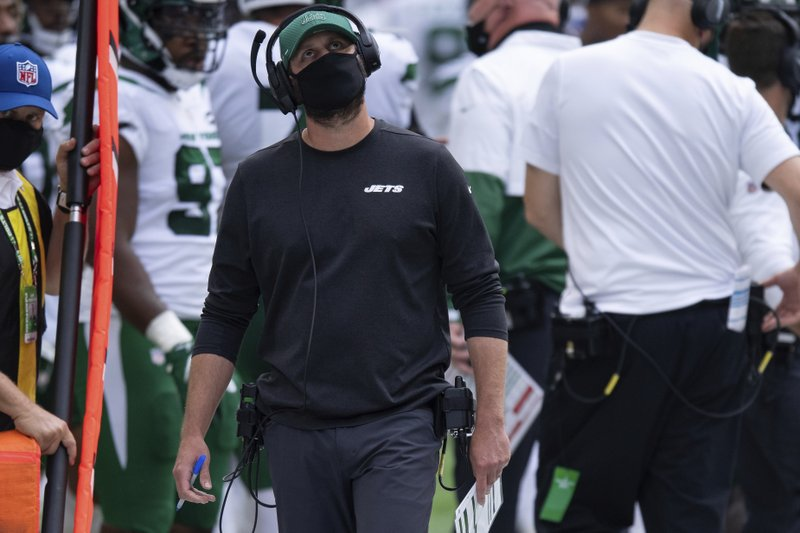 New York Jets head coach Adam Gase walks on the sidelines against the Indianapolis Colts