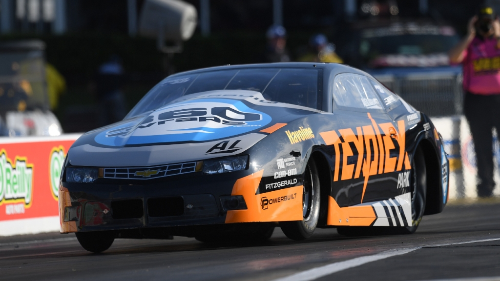 TexPlex Park/Havoline Pro Stock driver Alex Laughlin racing on Saturday at the 33rd annual Mopar Express Lane NHRA SpringNationals presented by Pennzoil