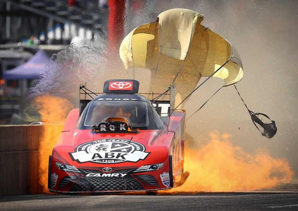 ROKiT Phones Funny Car pilot Alexis DeJoria had a huge fire after her first-round win at the 35th annual AAA Texas NHRA FallNationals