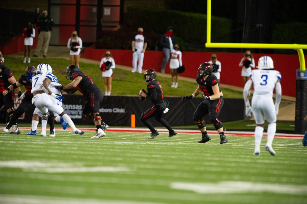 Arkansas State quarterback Layne Hatcher attempts a pass against the Georgia State Panthers