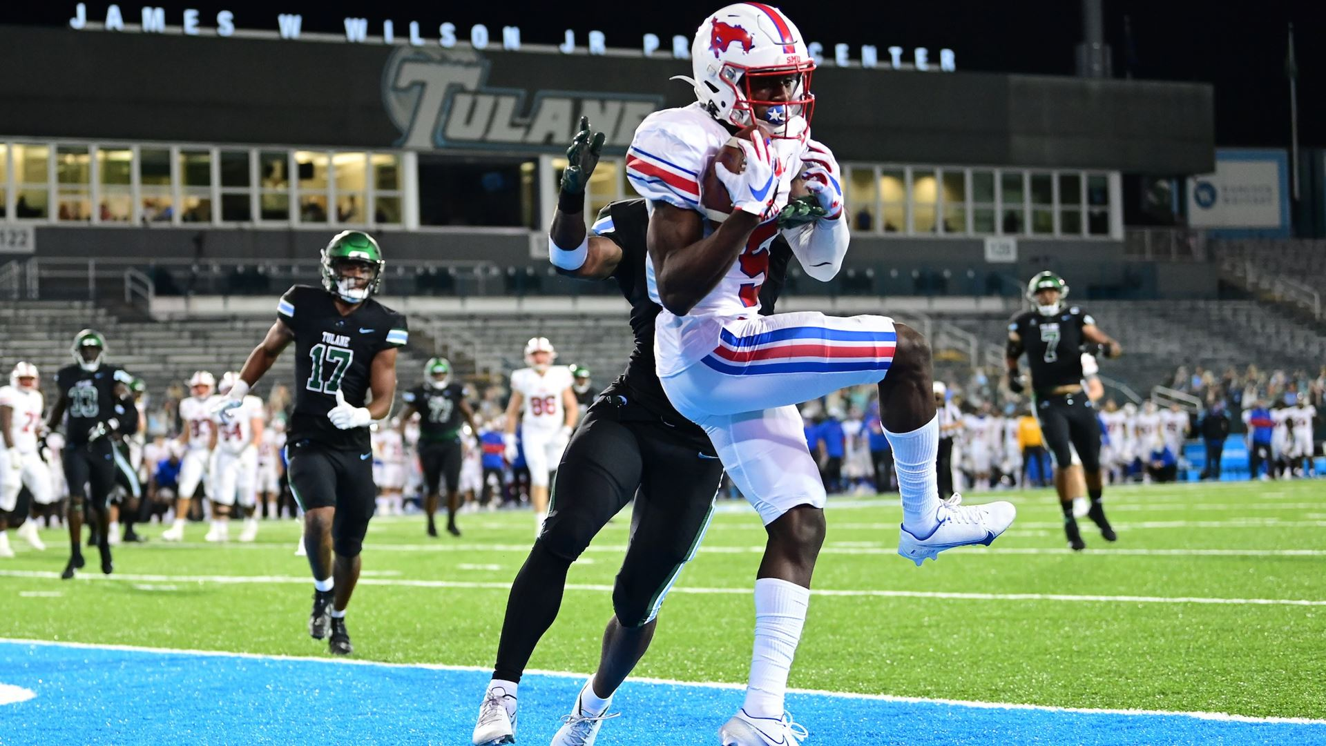 SMU Mustangs wide receiver Danny Gray makes a reception against the Tulane Green Wave