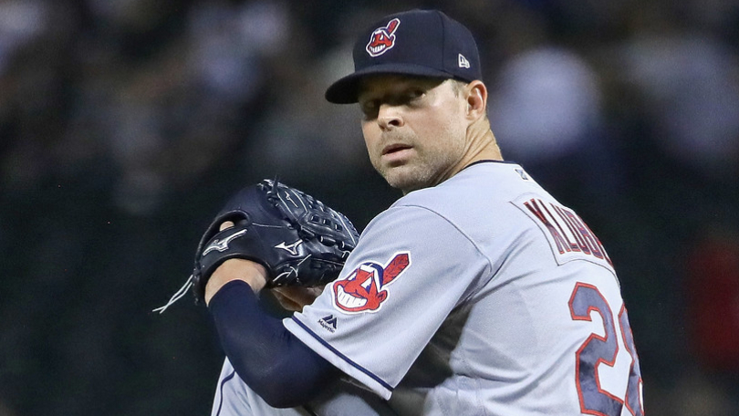 Former Cleveland Indians pitcher Corey Kluber delivers a pitch against the Chicago White Sox