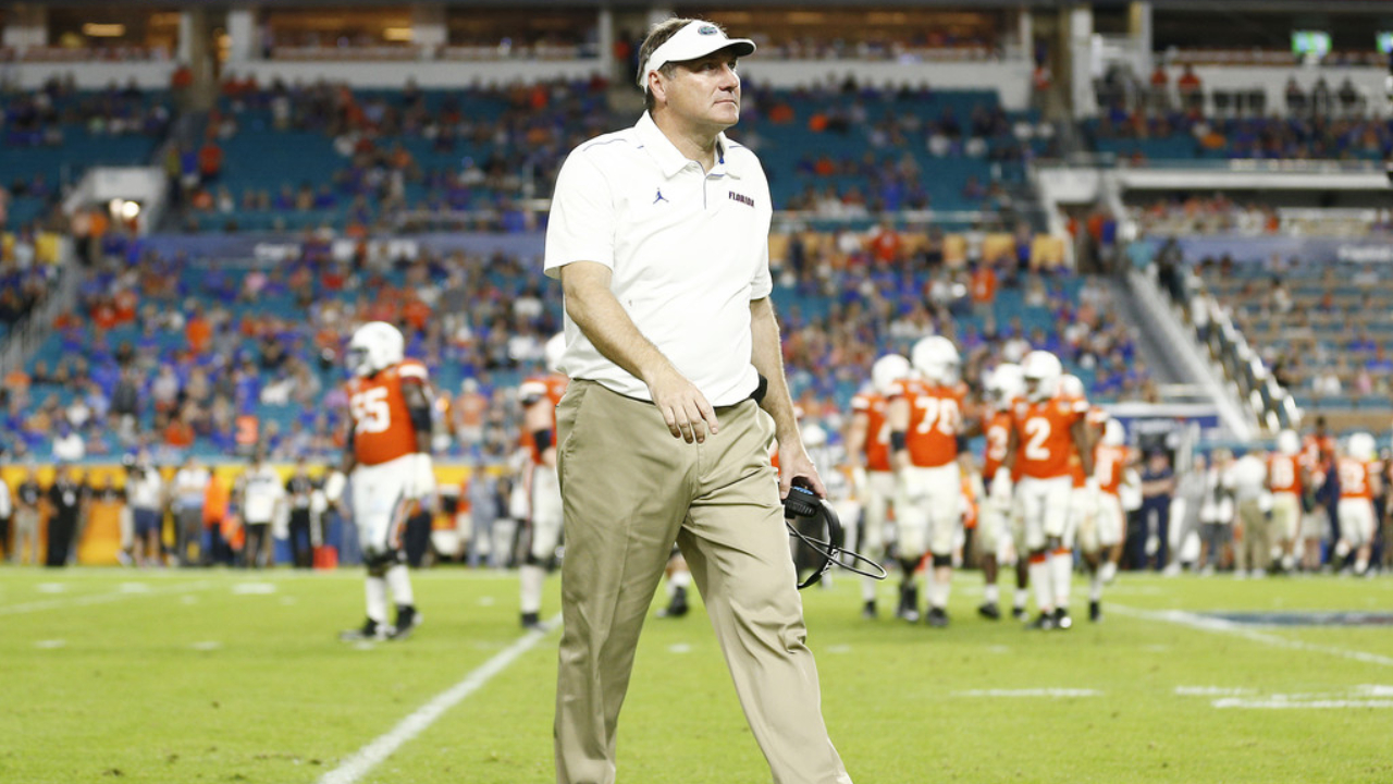 Florida Gators head coach Dan Mullen reacts to a call against the Virginia Cavaliers during the 2019 Capital One Orange Bowl