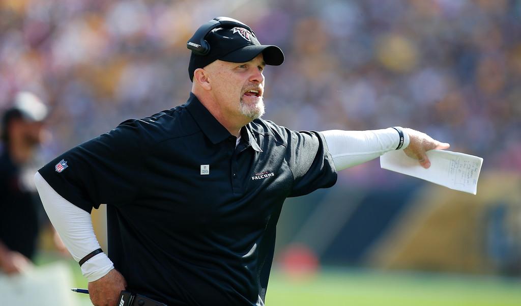 Former Atlanta Falcons head coach Dan Quinn looks on against the Pittsburgh Steelers