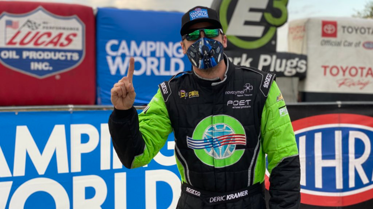 American Ethanol Pro Stock driver Deric Kramer celebrates the No. 1 qualifier at the AAA Texas NHRA FallNationals