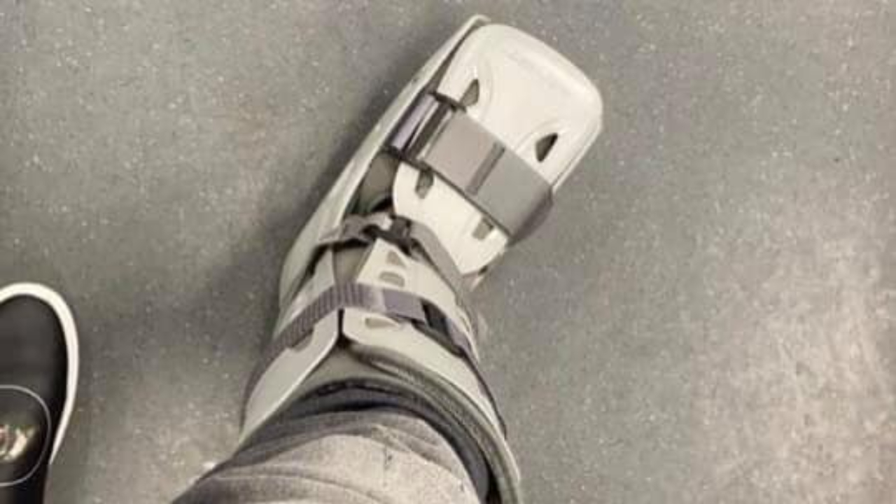 Philadelphia Eagles wide receiver DeSean Jackson in a walking boot after injuring his ankle in a 22-21 win over the New York Giants