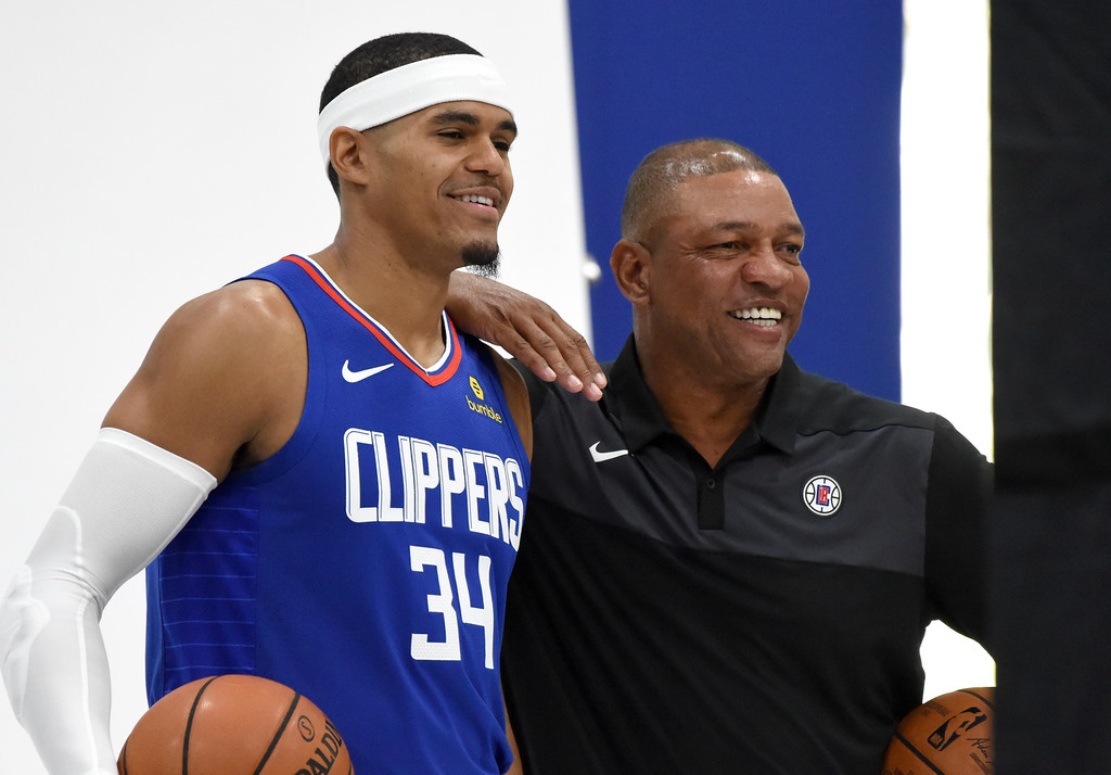 Former Los Angeles Clippers head coach Doc Rivers and Tobias Harris pose for photos during 2018 Media Day