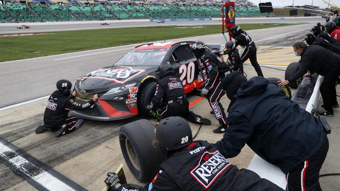 Reser's Fine Foods NASCAR Cup Series driver Erik Jones during a pit stop during the Hollywood Casino 400