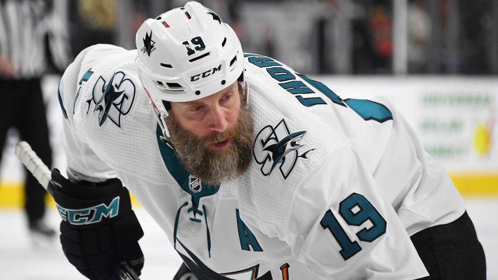 Former San Jose Sharks center Joe Thornton waits for a face-off against the Vegas Golden Knights in Game Six of the Western Conference First-Round of the 2019 NHL Stanley Cup Playoffs