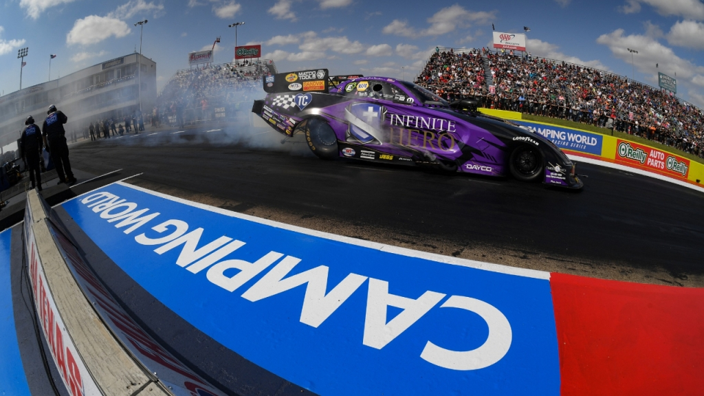 Infinite Hero Foundation Funny Car driver Jack Beckman racing on Sunday at the 2020 AAA Texas NHRA FallNationals