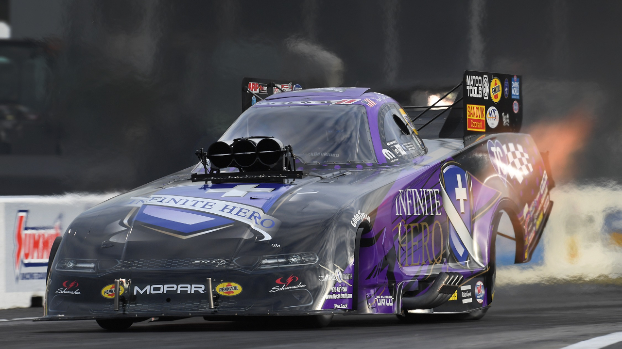 Infinite Hero Foundation Funny Car pilot Jack Beckman racing on Saturday at the 33rd annual Mopar Express Lane NHRA SpringNationals presented by Pennzoil
