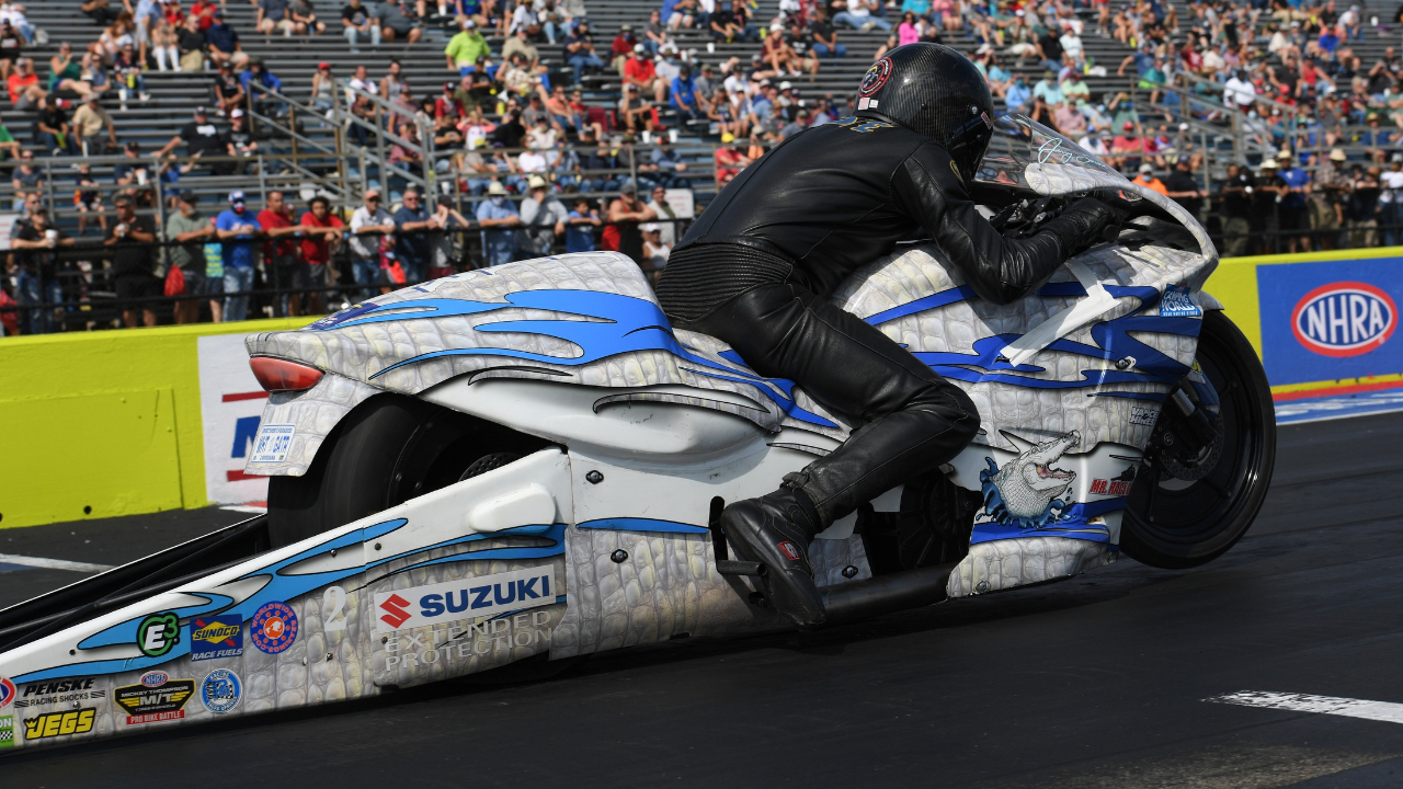 White Alligator Racing Pro Stock Motorcycle rider Jerry Savoie racing on Sunday at the 2020 AAA Texas NHRA FallNationals