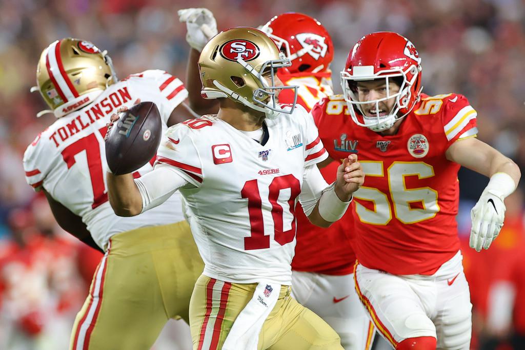 San Francisco 49ers quarterback Jimmy Garoppolo throws a pass against the Kansas City Chiefs in Super Bowl LIV